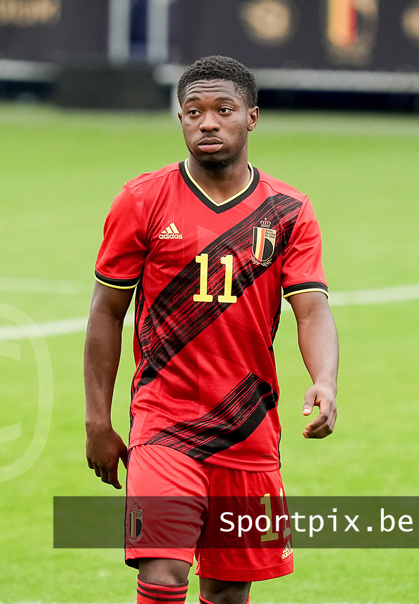 Belgium's Francis Amuzu (11) pictured before a soccer game between the national teams Under21 Youth teams of Belgium and Germany on the 5th matday in group 9 for the qualification for the Under 21 EURO 2021 , on tuesday 8 th of September 2020  in Leuven , Belgium . PHOTO SPORTPIX.BE | SPP | SEVIL OKTEM
