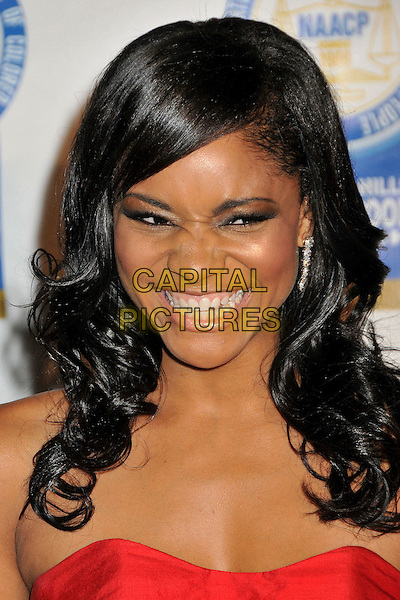 ERICA HUBBARD .19th Annual NAACP Theatre Awards held at the Directors Guild of America, West Hollywood, CA, USA, .31st August 2009.portrait headshot eyeshadow strapless red funny smiling wrinkled nose .CAP/ADM/BP.©Byron Purvis/AdMedia/Capital Pictures.