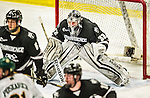 29 December 2014: Providence College Friar Goaltender Jon Gillies, a Junior from South Portland, Maine, in third period action against the University of Vermont Catamounts during the deciding game of the annual TD Bank-Sheraton Catamount Cup Tournament at Gutterson Fieldhouse in Burlington, Vermont. Gillies and the Friars shut out the Catamounts 3-0 to win the 2014 Cup. Mandatory Credit: Ed Wolfstein Photo *** RAW (NEF) Image File Available ***