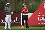 Damien McGrane and Thongchai Jaidee wait to tee off on the 9th tee during Day 2 Friday of the Abu Dhabi HSBC Golf Championship, 21st January 2011..(Picture Eoin Clarke/www.golffile.ie)