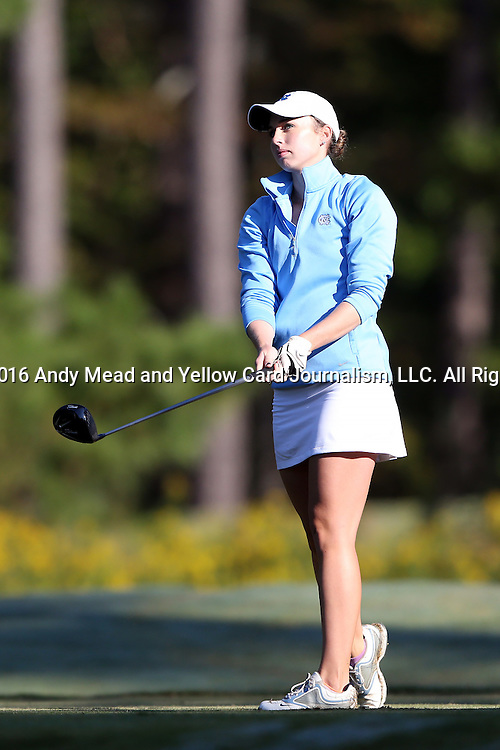 16 October 2016: UNC's Lexi Harkins. The Final Round of the 2016 Ruth's Chris Tar Heel Invitational NCAA Women's Golf Tournament hosted by the University of North Carolina Tar Heels was held at the UNC Finley Golf Club in Chapel Hill, North Carolina.