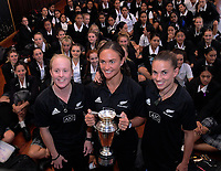 Black Ferns Kendra Cocksedge, Lesley Ketu and Selica Winiata. NZ Rugby presser to announce professional contracts for the Black Ferns at St Mary's College in Wellington, New Zealand on Monday, 12 March 2018. Photo: Dave Lintott / lintottphoto.co.nz