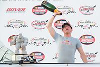 May 30, 2008; Dover, DE, USA; Nascar Craftsman Truck Series driver Scott Speed celebrates after winning the AAA Insurance 200 at Dover International Speedway. Mandatory Credit: Mark J. Rebilas-US PRESSWIRE.
