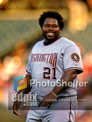 24 August 2007:  Washington Nationals first baseman Dmitri Young in action against the Colorado Rockies at Coors Field in Denver, Colorado. The Rockies rallied with 5 runs in the bottom of the 9th inning to defeat the Nationals 6-5 in the first game of their 3-game series...Mandatory Photo Credit: Ed Wolfstein Photo