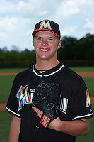 GCL Marlins pitcher RJ Peace (25) poses for a photo before the second game of a doubleheader against the GCL Mets on July 24, 2015 at the St. Lucie Sports Complex in St. Lucie, Florida.  GCL Marlins defeated the GCL Mets 5-4.  (Mike Janes/Four Seam Images)