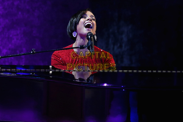 Alicia Keys.2013 Inauguration Ball, Washinton D.C., USA..January 21st, 2013.on stage in concert live gig performance performing music half length red dress piano singing .CAP/ADM/CNP/CS.©Chip Somodevilla/CNP/AdMedia/Capital Pictures