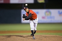 Kannapolis Intimidators relief pitcher Kevin Escorcia (5) in action against the Lakewood BlueClaws at Kannapolis Intimidators Stadium on April 8, 2017 in Kannapolis, North Carolina.  The BlueClaws defeated the Intimidators 8-4 in 10 innings.  (Brian Westerholt/Four Seam Images)