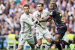 Cristiano Ronaldo of Real Madrid, Képler Laveran Lima Ferreira Pepe of Real Madrid, and Papakouli Diop of RCD Espanyol fight for the ball during the match Real Madrid vs RCD Espanyol, a La Liga match at the Santiago Bernabeu Stadium on 18 February 2017 in Madrid, Spain. Photo by Diego Gonzalez Souto / Power Sport Images