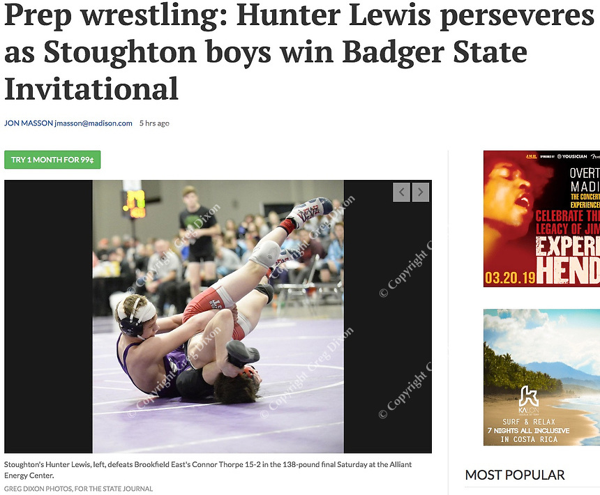 Stoughton's Hunter Lewis (left) wins by 16-2 decision over Brookfield East's Connor Thorpe in the 138-pound final, during the Badger State Invitational Wisconsin high school wrestling tournament at the Alliant Energy Center on Saturday, 12/22/18, in Madison | Wisconsin State Journal article page B6 Sports 12/23/18 and online at https://madison.com/wsj/sports/high-school/wrestling/prep-wrestling-hunter-lewis-perseveres-as-stoughton-boys-win-badger/article_2498c6b5-a040-5620-8ef2-9d94073cf89d.html