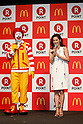 (L to R) Ronald McDonald and Japanese model Anne Nakamura speak during a news conference organized by McDonald's Japan and Rakuten, Inc. on May 26, 2017, Tokyo, Japan. Rakuten and McDonald's have cemented their business relationship by launching an original point card which can be used at all of the 2,900 McDonald's stores in Japan. (Photo by Rodrigo Reyes Marin/AFLO)