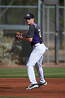 Colorado Rockies Tyler Nevin (27) during practice before an instructional league game against the SK Wyverns on October 10, 2015 at the Salt River Fields at Talking Stick in Scottsdale, Arizona.  (Mike Janes/Four Seam Images)