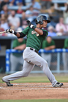 Savannah Sand Gnats right fielder Victor Cruzado #18 swings at a pitch during a game against the Asheville Tourists at McCormick Field July 16, 2014 in Asheville, North Carolina. The Tourists defeated the Sand Gnats 6-3. (Tony Farlow/Four Seam Images)