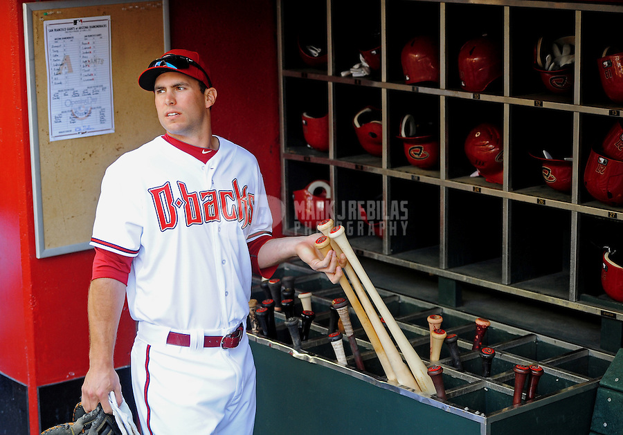 Apr. 6, 2012; Phoenix, AZ, USA; Arizona Diamondbacks first baseman Paul Goldschmidt prior to the game against the San Francisco Giants during opening day at Chase Field.  The Diamondbacks defeated the Giants 5-4. Mandatory Credit: Mark J. Rebilas-