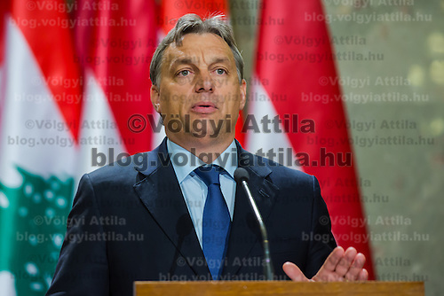 Viktor Orban prime minister of Hungary talks during a press conference in Budapest, Hungary on November 06, 2012. ATTILA VOLGYI