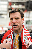 Red Bulls sporting director Jeff Agoos is interviewed after the topping off ceremony at Red Bull Arena in Harrison, NJ, on April 14, 2009.
