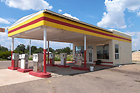Whiting Bros gas station along Route 66 in Moriarty, New Mexico.