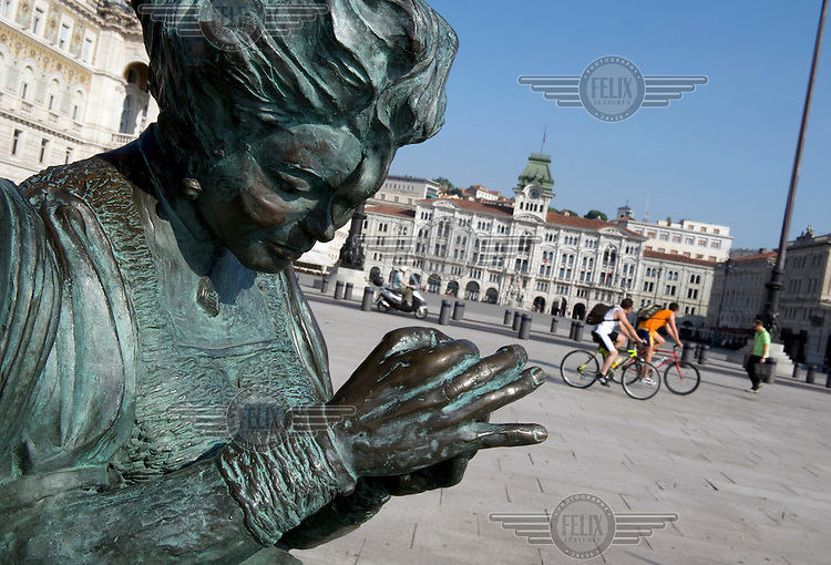 A statue in Piazza Unita d'Italia in Trieste.