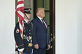 United States President Donald J. Trump awaits the arrival of Sheikh Abdullah bin Zayed bin Sultan Al Nahyan, Minister of Foreign Affairs and International Cooperation of the United Arab Emirates, to the White House in Washington, DC on Tuesday, September 15, 2020.  Dr. Alzayani is in Washington to sign the Abraham Accords, a peace treaty with the State of Israel.<br /> Credit: Chris Kleponis / Pool via CNP