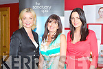 SANCTUARY BEAUTY ACADEMY: Zoe Clarke make-up artist to the stars with Mary O'Donoghue principal of the Sanctuary Beauty Academy and former Miss Ireland Andrea Roche at the Sanctuary Beauty Academy open day at the Brandon hotel, Tralee on Saturday...