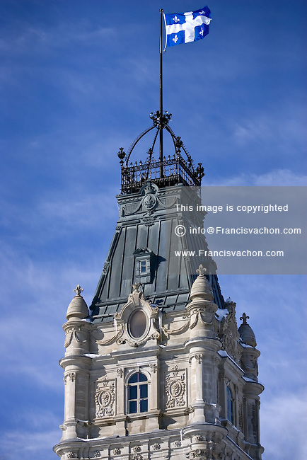 Quebec City - February 14, 2008. The Quebec flag flies over the central tower of the National Assembly in Quebec City.