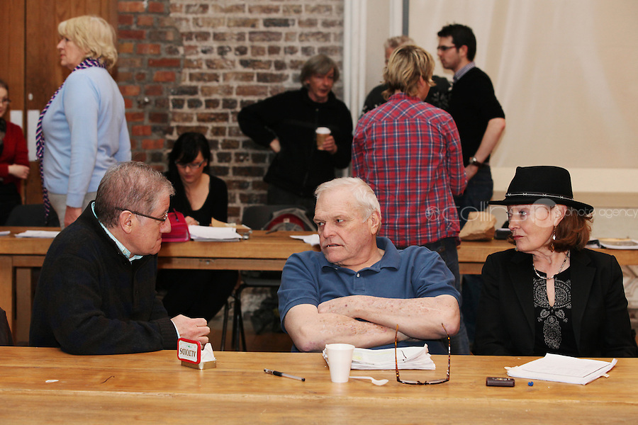 NO REPRO FEE.13/12/2010. The Field rehearsals.  Director Joe Dowling, Brian Dennehy performing the iconic role of 'The Bull' McCabe and Joan Bergin costume designer are pictured at Smock Alley Theatre, Temple Bar, Dublin for their first day of rehearsals for John B Keane's award-winning play, The Field. It will be directed by Joe Dowling. The play returns to The Olympia Theatre where it premiered over 45 years ago and will run from January 13 through to 12 February. Picture James Horan/Collins Photos