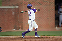 Daniel Millwee (22) of the High Point Panthers follows through on his swing against the Campbell Camels at Williard Stadium on March 16, 2019 in  Winston-Salem, North Carolina. The Camels defeated the Panthers 13-8. (Brian Westerholt/Four Seam Images)