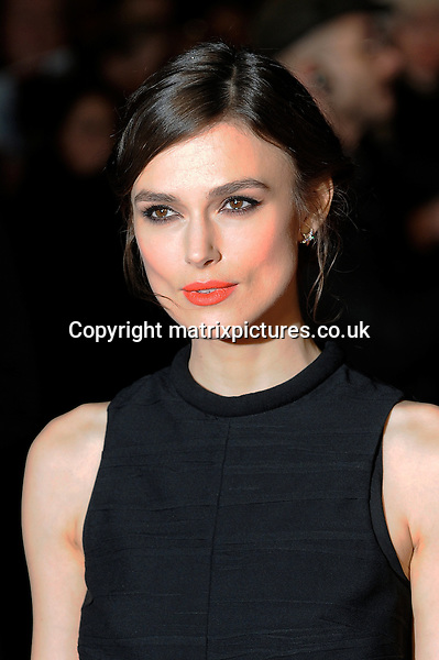 NON EXCLUSIVE PICTURE: PAUL TREADWAY / MATRIXPICTURES.CO.UK<br /> PLEASE CREDIT ALL USES<br /> <br /> WORLD RIGHTS<br /> <br /> English actress Keira Knightley is pictured attending the UK premiere of &quot;Jack Ryan: Shadow Recruit&quot; at the Leicester Square Vue Theatre in London, England.<br /> <br /> JANUARY 20th 2014<br /> <br /> REF: PTY 14295