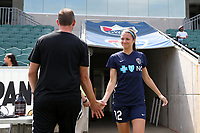 Cary, North Carolina  - Sunday May 21, 2017: Ashley Hatch and Scott Vallow prior to a regular season National Women's Soccer League (NWSL) match between the North Carolina Courage and the Chicago Red Stars at Sahlen's Stadium at WakeMed Soccer Park. Chicago won the game 3-1.