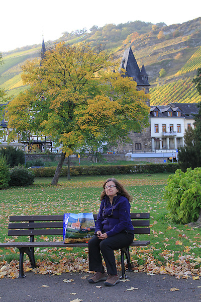Beth sitting along the Rhine River Valley, France