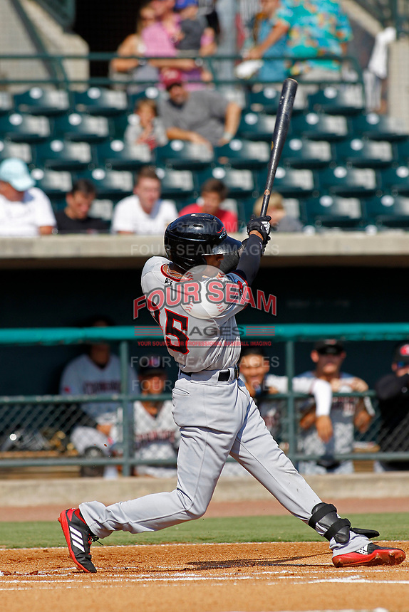 Hickory Crawdads outfielder Bubba Thompson (25) at bat during a game against the Charleston Riverdogs at the Joseph P. Riley Ballpark in Charleston, South Carolina.  Hickory defeated Charleston 8-7. (Robert Gurganus/Four Seam Images)