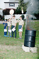 Flag Retirement Ceremony - Boy Scouts - Belmont, Massachusetts, USA - 14 Oct 2017