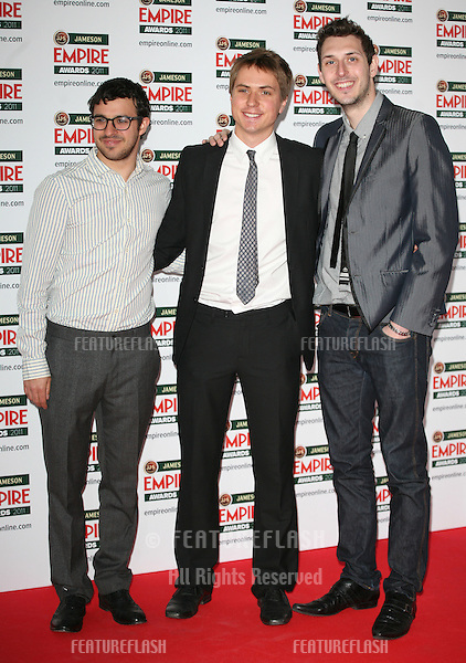 Simon Bird, Joe Thomas and Blake Harrison arriving for the Jameson Empire Awards 2011, Grosvenor House Hotel, London. 27/03/2011  Picture by: Alexandra Glen / Featureflash