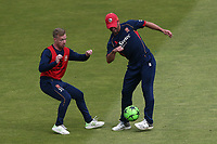 Adam Wheater and Ryan ten Doeschate of Essex play football ahead of Lancashire CCC vs Essex CCC, Specsavers County Championship Division 1 Cricket at Emirates Old Trafford on 9th June 2018