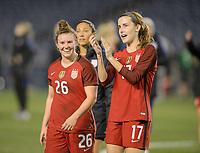 San Diego, Ca - Sunday, January 21, 2018: Savannah McCaskill Tierna Davidson during a USWNT 5-1 victory over Denmark at SDCCU Stadium.