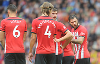 Southampton's Charlie Austin (right) and Jack Stephens organise the wall<br /> <br /> Photographer Kevin Barnes/CameraSport<br /> <br /> The Premier League - Southampton v Burnley - Sunday August 12th 2018 - St Mary's Stadium - Southampton<br /> <br /> World Copyright &copy; 2018 CameraSport. All rights reserved. 43 Linden Ave. Countesthorpe. Leicester. England. LE8 5PG - Tel: +44 (0) 116 277 4147 - admin@camerasport.com - www.camerasport.com