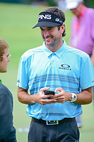 Bubba Watson (USA) chats near the practice green during Wednesday's preview of the PGA Championship at the Quail Hollow Club in Charlotte, North Carolina. 8/9/2017.<br /> Picture: Golffile | Ken Murray<br /> <br /> <br /> All photo usage must carry mandatory copyright credit (&copy; Golffile | Ken Murray)