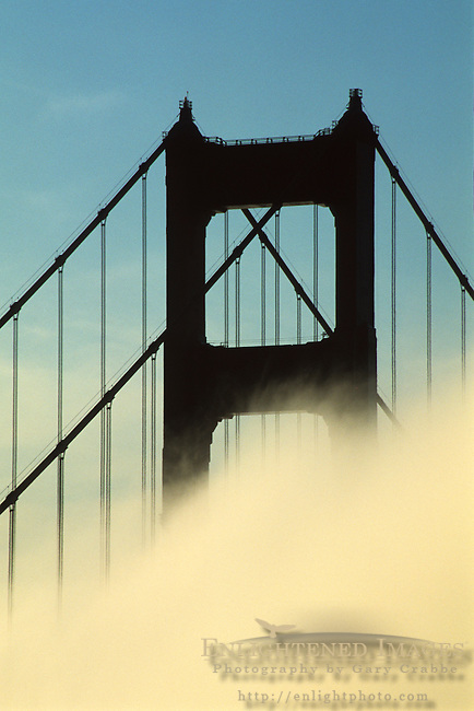 Golden Gate Bridge and fog from the Marin Headlands, California