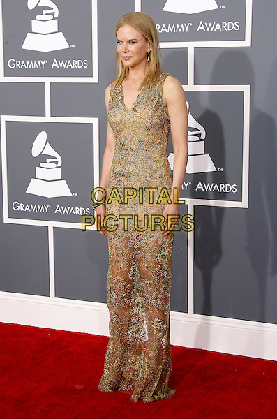 Nicole Kidman.The 55th Annual GRAMMY Awards held at STAPLES Center Los Angeles, California, USA..February 11th, 2013.grammys full length gold lace sheer dress  sleeveless .CAP/ADM.©AdMedia/Capital Pictures.