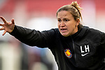 Utah Royals FC head coach Laura Harvey in the second half Saturday, April 14, 2018, during the National Woman Soccer League game at Rio Tiinto Stadium in Sandy, Utah. (© 2018 Douglas C. Pizac)