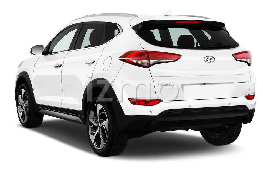 Car pictures of rear three quarter view of 2015 Hyundai Tucson Launch Edition 5 Door Suv Angular Rear