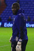 Oldham Athletic's Johnny Placide during the pre-match warm-up  ahead of the Sky Bet League 1 match between Oldham Athletic and AFC Wimbledon at Boundary Park, Oldham, England on 21 November 2017. Photo by Juel Miah/PRiME Media Images