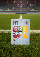 30th October 2019; Villa Park, Birmingham, Midlands, England; English Football League Cup, Carabao Cup, Aston Villa versus Wolverhampton Wanderers; General view of the match day programme on the pitch before the match - Strictly Editorial Use Only. No use with unauthorized audio, video, data, fixture lists, club/league logos or 'live' services. Online in-match use limited to 120 images, no video emulation. No use in betting, games or single club/league/player publications