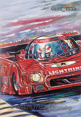 Ron, MASCULIN, paintings, red racing car(GBSG7539,#M#)