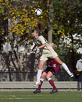 Boston College forward Brooke Knowlton (16) heads the ball as Florida State defender Ella Stephan (17) defends. Florida State University defeated Boston College, 1-0, at Newton Soccer Field, Newton, MA on October 31, 2010.