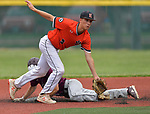 Belleville West baserunner Will Lanxon (back) was safe at second as he slid and beat the ball to Edwardsville's Logan Cromer. Edwardsville defeated Belleville West in a semifinal of the Class 4A Bloomington boys baseball sectional which was played in O'Fallon, IL on Wednesday May 29, 2019.<br />