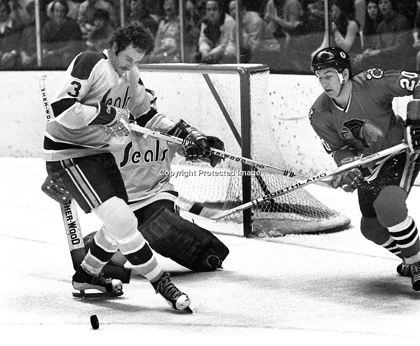 California Golden Seals #3 Ray McKay, Chicago Blackhawks #2 Cliff Koroll..goalie Gilles Meloche..(1971 photo/Ron Riesterer)