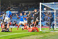Ellis Harrison of Portsmouth left heads the first goal during Portsmouth vs Birmingham City, Caraboa Cup Football at Fratton Park on 6th August 2019