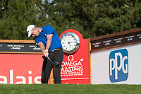 Robert Karlsson (SWE) in action on the 14th hole during second round at the Omega European Masters, Golf Club Crans-sur-Sierre, Crans-Montana, Valais, Switzerland. 30/08/19.<br /> Picture Stefano DiMaria / Golffile.ie<br /> <br /> All photo usage must carry mandatory copyright credit (© Golffile | Stefano DiMaria)