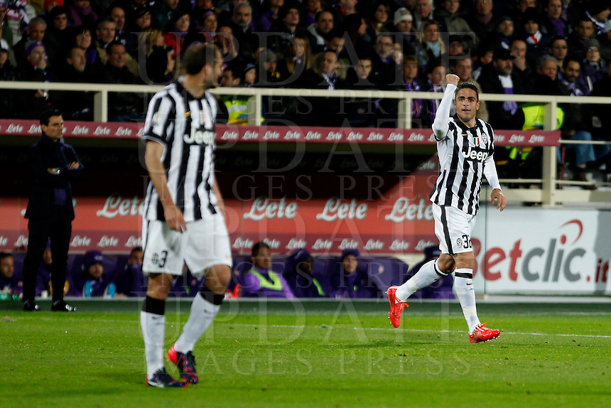 Calcio, Coppa Italia: semifinale di ritorno Fiorentina vs Juventus. Firenze, stadio Artemio Franchi, 7 aprile 2015. <br /> Juventus' Alessandro Matri, right, celebrates past teammate Giorgio Chiellini after scoring during the Italian Cup semifinal second leg football match between Fiorentina and Juventus at Florence's Artemio Franchi stadium, 7 April 2015.<br /> UPDATE IMAGES PRESS/Isabella Bonotto