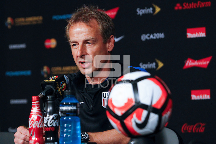 Glendale, AZ - Friday June 24, 2016: United States (USA) manager Jurgen Klinsmann during a press conference prior to the third place match of the Copa America Centenario at the University of Phoenix Stadium.<br /> <br /> Photo during the Conference of the United States team before the game against the selection of Colombia for third place in the America Cup Centenary 2016 at University of Phoenix Stadium<br /> <br /> Foto durante la Conferencia de la Seleccion de Estados Unidos previo al partido contra la Seleccion de Colombia por el tercer lugar de la Copa America Centenario 2016, en el Estadio de la Universidad de Phoenix, en la foto: Jurgen Klinsmann DT de USA<br /> <br /> 24/06/2016/MEXSPORT/Victor Posadas.